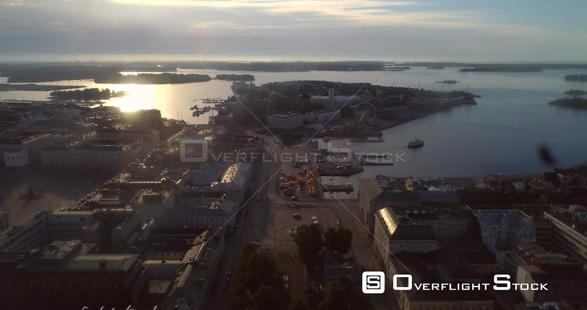 Helsinki City, Aerial View of Kauppatori Market Square, the South Harbour and Katajanokka Bay, on a Sunny Summer Morning Dawn...