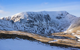 Winter summit of Helvellyn in the Lake District, Cumbria.