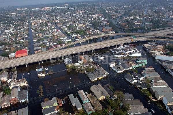 Aerial of flooded neighborhoods in New Orleans after Hurricane Katrina