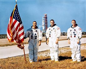 18 Dec. 1968 - The prime crew of Apollo 9 space mission. Left to right, are James A. McDivitt, commander; David R. Scott, com...