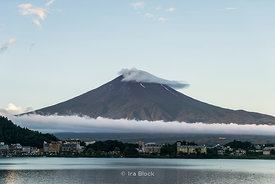 Mt. Fuji, the highest mountain in Japan at 3,776.24 m (12,389 ft) looking over Lake Kawaguchi, the second largest of the Fuji...