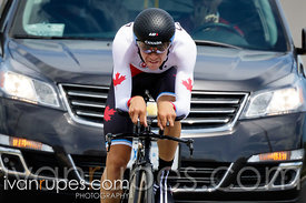 19-year-old Sean Mackinnon finishing his bronze-mdeal ride at the Individual Time Trial, Toronto 2015 Pan Am Games, Milton, O...