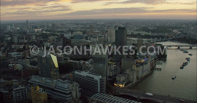 London Aerial Footage Blackfriars and Southbank