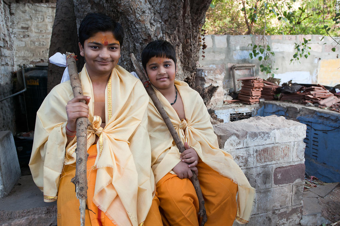 Two brothers studying to be Hindu priests in Jodhpur, Rajasthan, India