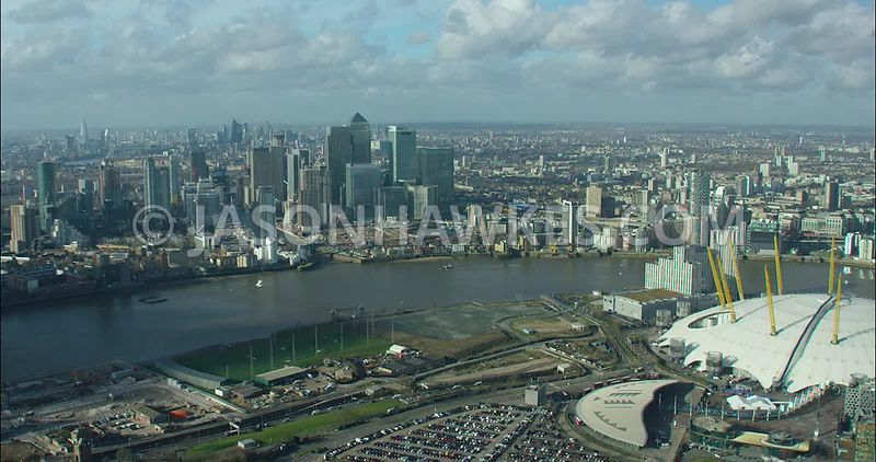 London Aerial footage, Greenwich Peninsula towards Docklands.