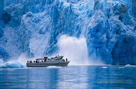 Ice-Calving Glacier with Ship