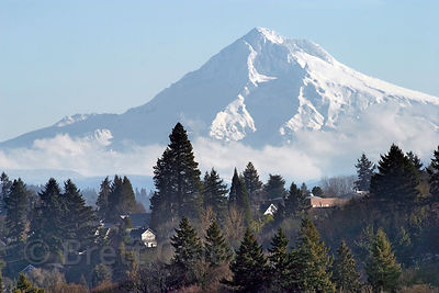 Mount Hood, highest peak in Oregon at 11,239 feet,  from the Portland International Airport