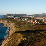 Sea Cliffs and Coastal Town of Plentzia, Spain