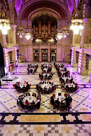 City Chambers, Glasgow and at night Kelvingrove Art Gallery and Museum, Glasgow..21.10.15.Prof Jim Blair, new President of th...