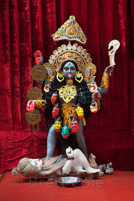 Kali idol in a small pandal in Kalighat, Kolkata, India.