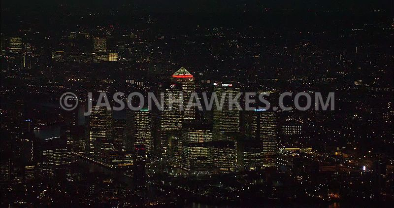 London night aerial footage, Canary Wharf at night.
