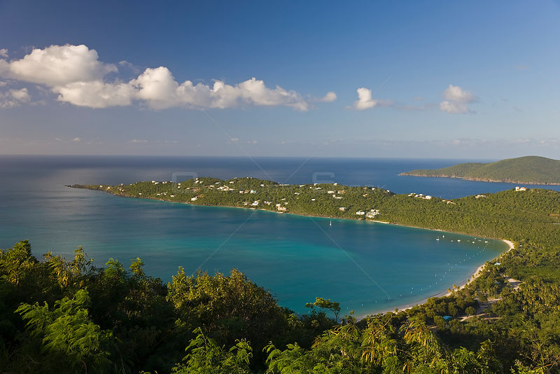 Elevated view over Magens Bay, the most famous beach on St. Thomas, US Virgin Islands, Leeward Islands, Lesser Antilles, Cari...