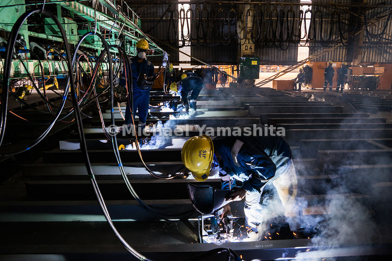 Inside the workshop at Semcorp Marine Tanjong Kling Yard, hot work processes such as welding or soldering are carried out wit...