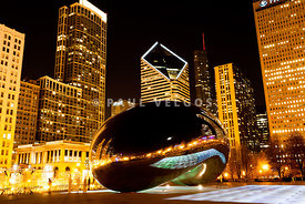 Chicago Bean Cloud Gate at Night