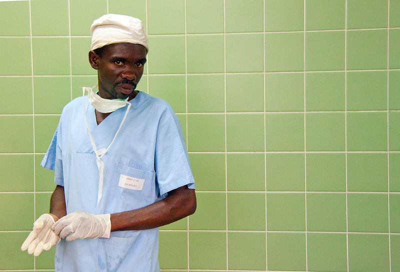 An anaesthetist prepares for an operation in Chake Chake hospital, December, 2010.