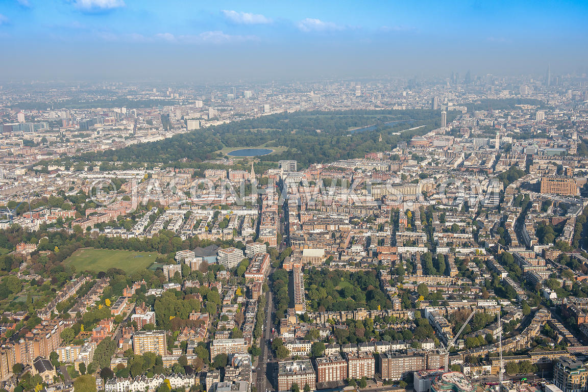 Aerial view of London, Kensington, Hyde Park and Kensington Gardens.