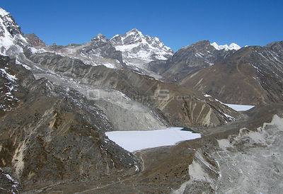 NEPAL Ngozumpa Glacier -- 16 Apr 2005 -- An aerial view of smaller glaciers which feed into the main Ngozumpa glacier.