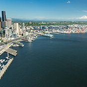 waterfront, skyline, Port of Seattle, and Mount Rainier; Seattle, WA
