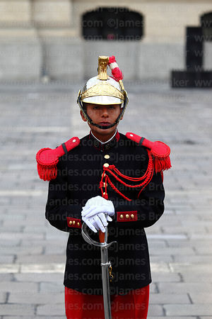 Portrait of ceremonial guard in front of government palace, Plaza de Armas, Lima, Peru