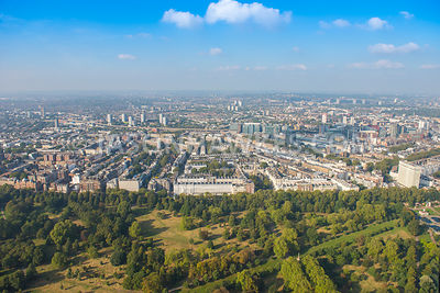 Aerial view of London, Bayswater Road and Hyde Park