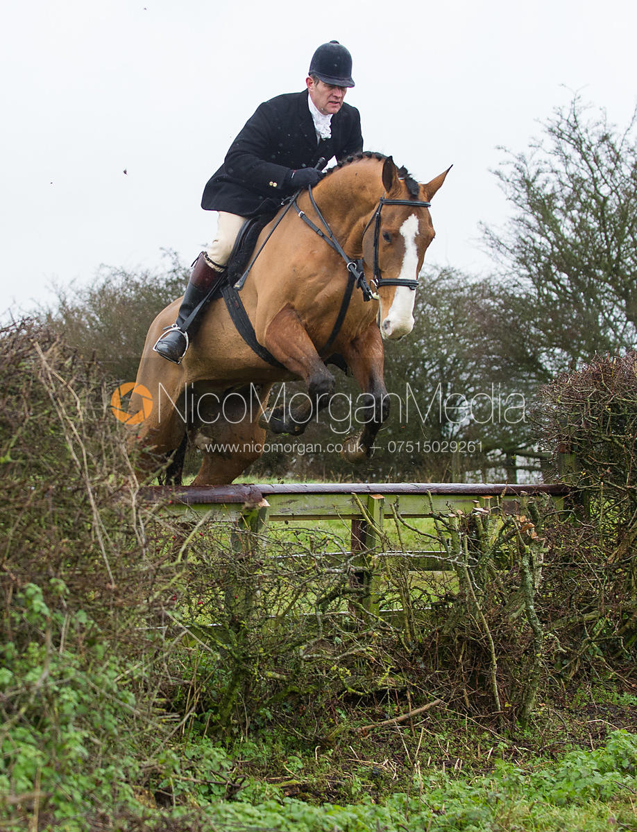 Adam Cooke jumping near the new Jubilee Covert - Cottesmore Hunt at Deane Bank Farm 4/12/12