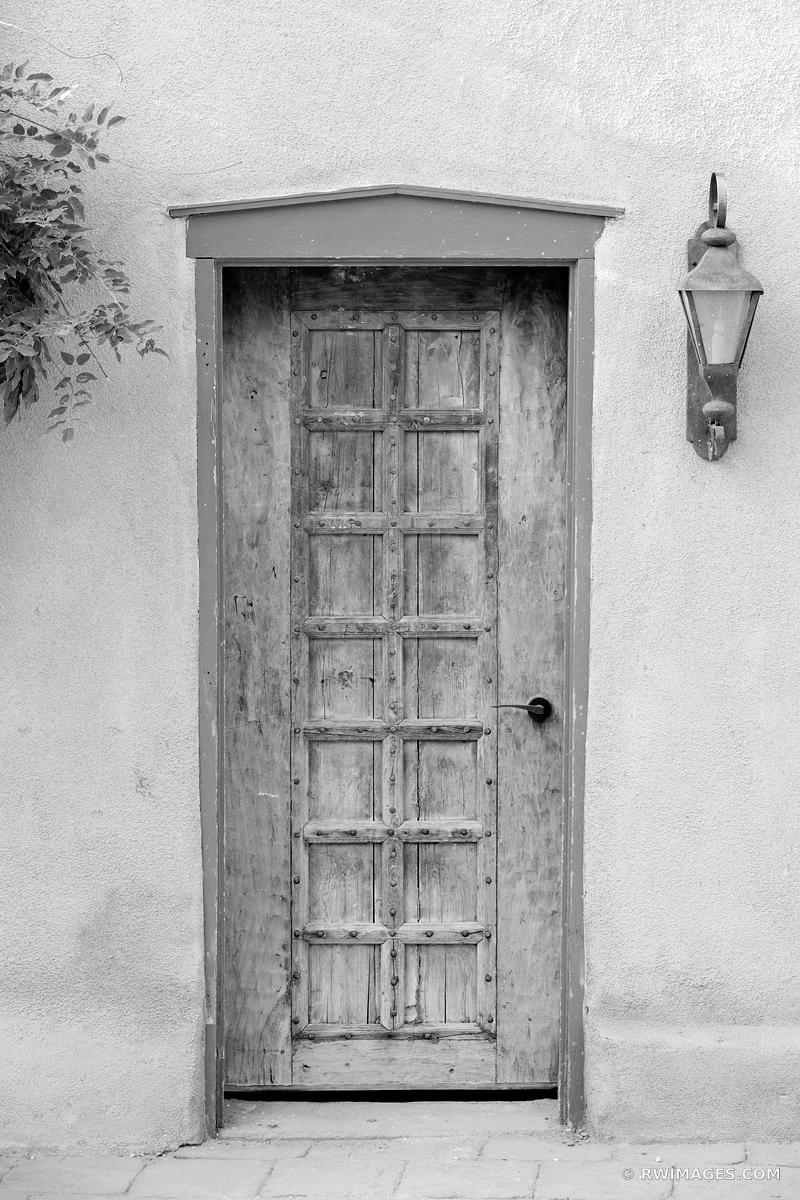 WOODEN DOOR SANTA FE NEW MEXICO BLACK AND WHITE VERTICAL