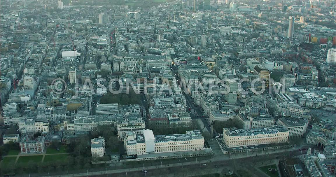 London Aerial Footage St James's towards Trafalgar Square.