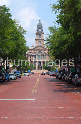 Tarrant County Courthouse in Ft. Worth Texas (red brick street)