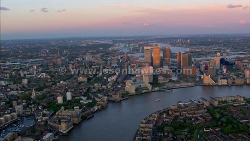 Aerial footage of Canary Wharf, Isle of Dogs, London, England, UK