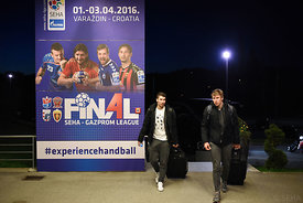 Alex DUJSHEBAEV, Daniil SHISHKAREV of Vardar during the Final Tournament - Final Four - SEHA - Gazprom league, team arrival i...