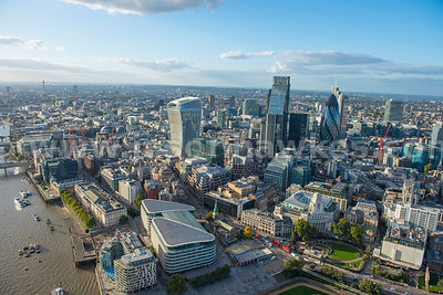 Aerial view of Lower Thames Street and the City, London
