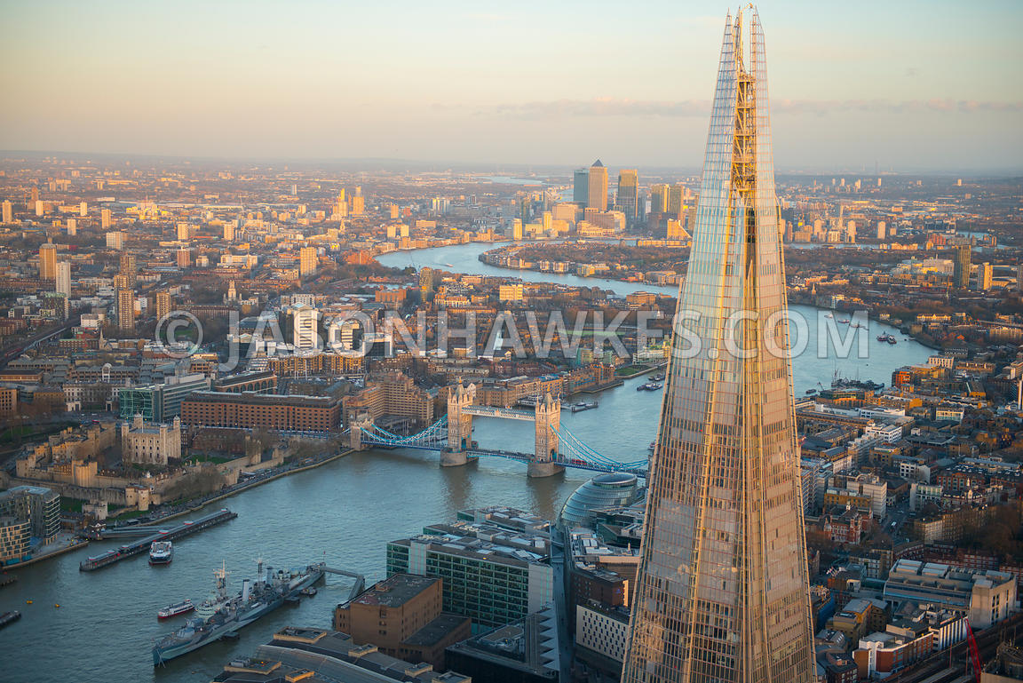 Aerial view of The Shard and Tower Bridge, London.