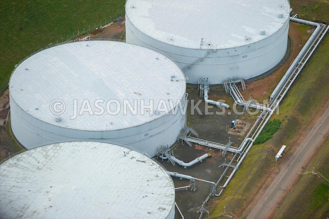 Aerial view of Dalmeny fuel depot, Scotland