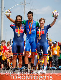 Mixed Time Trial C1-5 podium, Toronto 2015 Parapan Am Games, Milton, On; August 13, 2015