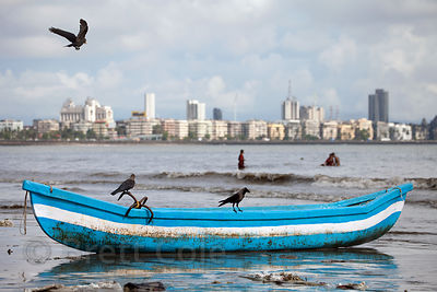 Boats on Chowpatty Beach, Mumbai, India.