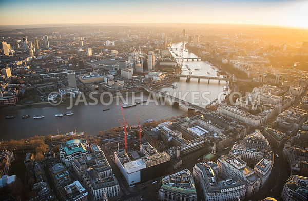 Aerial view of London, Arundel Great Court with Aldwych and Somerset House.
