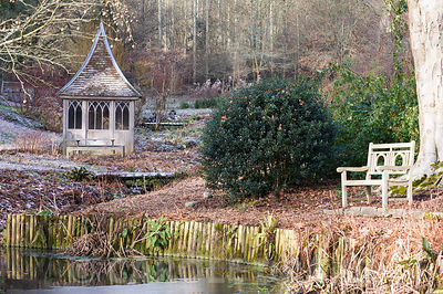 Bench beside pond with summerhouse beyond.