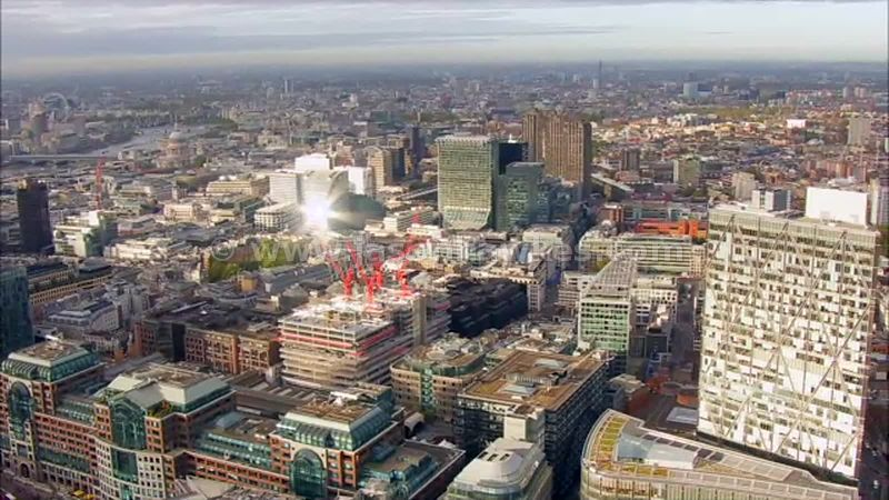 Aerial footage of the City, London