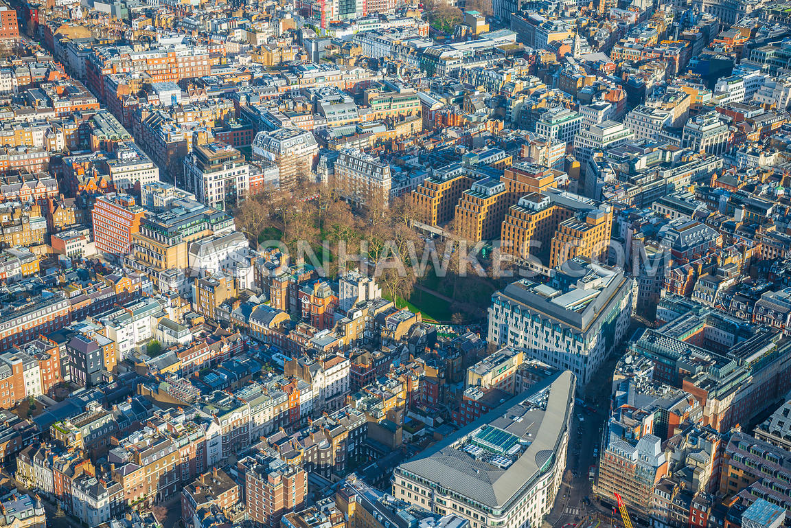 Aerial view of London, Mayfair with Davies Street and Berkeley Square.