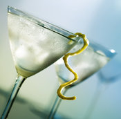 Martini with lemon peel