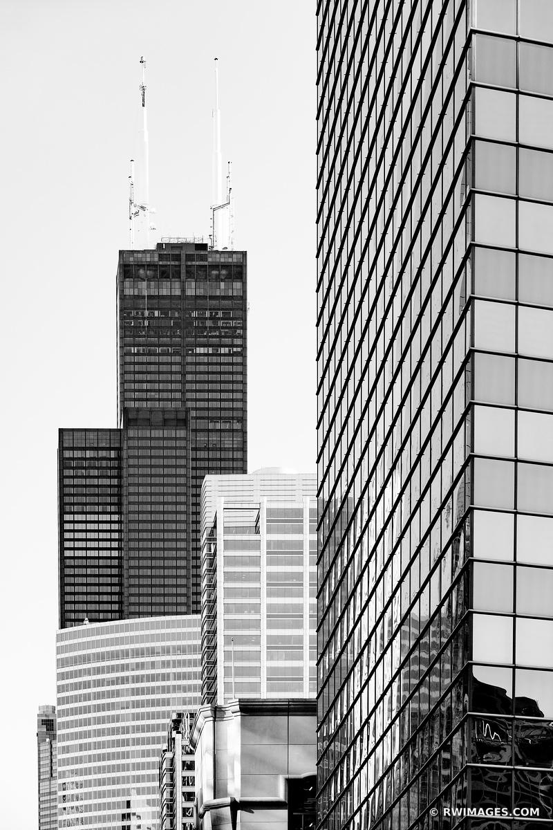 WILLIS SEARS TOWER CHICAGO ILLINOIS BLACK AND WHITE VERTICAL