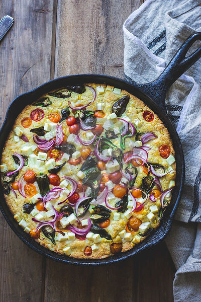 Vegetable and cheese cornbread skillet