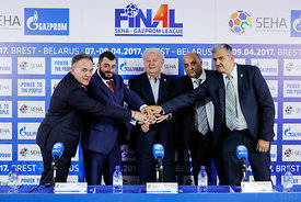 Officials during the Final Tournament - Final Four - SEHA - Gazprom league, Closing Press Conference, Belarus, 09.04.2017, Ma...