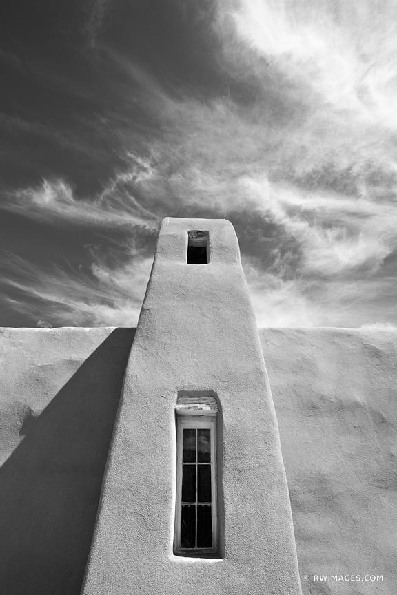 SAN FRANCISCO CATHOLIC MISSION CHURCH TURQUOISE TRAIL NEW MEXICO BLACK AND WHITE