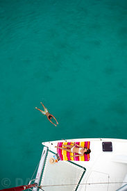 Relaxing on yacht off Ningaloo Reef, Western Australia