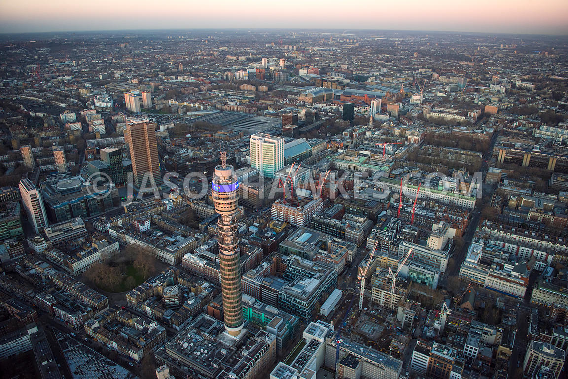 Aerial view of London, Fitzrovia with Regents Place and Triton Square towards Bloomsbury.