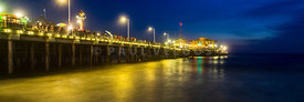 Santa Monica Pier at Night Panoramic Photo