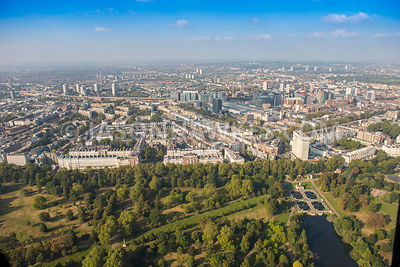 Aerial view of London, Lancaster Gate and Hyde Park Italian Water Garden.