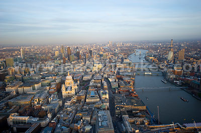 Aerial view over St Paul's Cathedral and River Thames, London