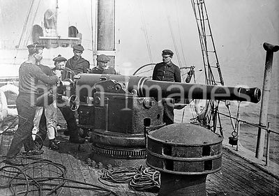 Photograph shows sailors on a French Navy ship
